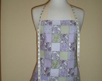 SALE 15%  OFF Hostess apron  'A little bit country'  in a mini style purple and lime boxed pattern Ready to Ship