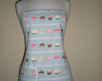HOSTESS APRON  in  a mini style with cupcake print light green and pink.