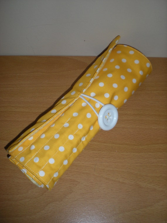 Brush roll/Travel accessory holds 16 brushes with extra zipped pocket in retro yellow/lemon polka dots