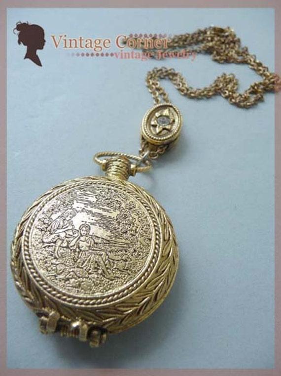 pocket style solid perfume locket pendant necklace0708