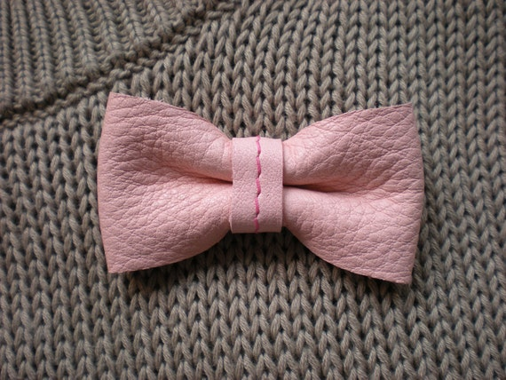 leather bow brooch pin - rose light pink