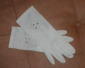 Vintage Ivory Gloves with Embroidery and Rhinestones