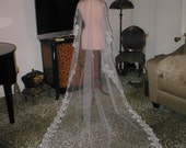 Embroidery Lace MANTILLA Veil  WHITE or IVORY