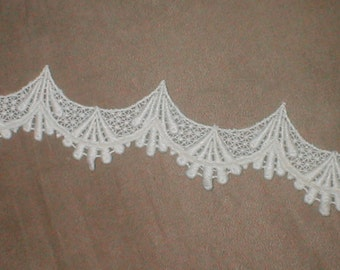 Vintage Scallopped Cotton Venice Lace Trim ivory