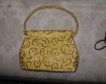 LARGE Vintage Gold Beaded Evening Purse