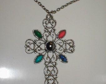 Vintage signed AVON Cross Pendant Necklace
