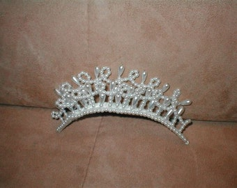 Pearl Tiara Comb Bridal Headpiece