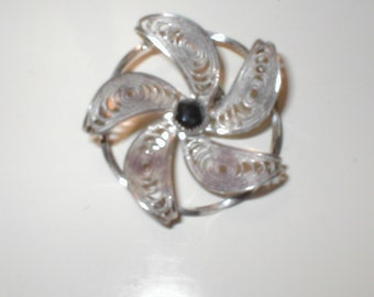 Vintage Brooch Pin Sterling Silver Hemetite