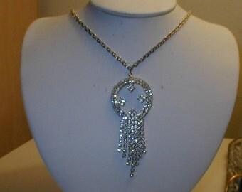 Vintage Rhinestone Pendant on Chain