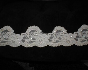 Vintage Beaded White Alencon Lace Trim