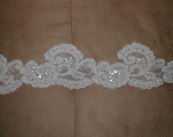 Beaded IVORY Alencon Lace Trim