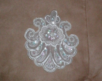 lot of 3 white  Vintage Beaded Appliques