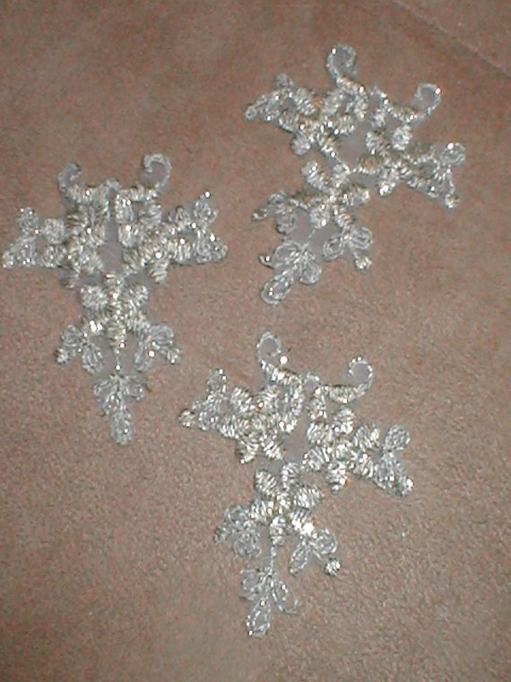 lot of 3 Gold Mettalic Lace Appliques