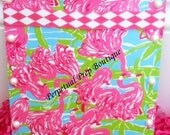 Hot Pink Flamingo and Pearl Small Clipboard - Lilly Pulitzer Print