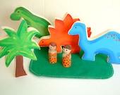 Dinosaur World - Wooden Dinosaur Toy Set With 2 Caveman Dolls