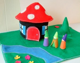 The Gnome Home- Wood And Felt Play Set - Includes 3 Gnomes- Felt Toy - Unique Gift - - Christmas - Hanukkah - Stocking Stuffer
