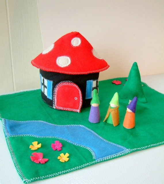 The Gnome Home- Wood And Felt Play Set - Includes 3 Gnomes- Felt Toy - Unique Gift - Waldorf