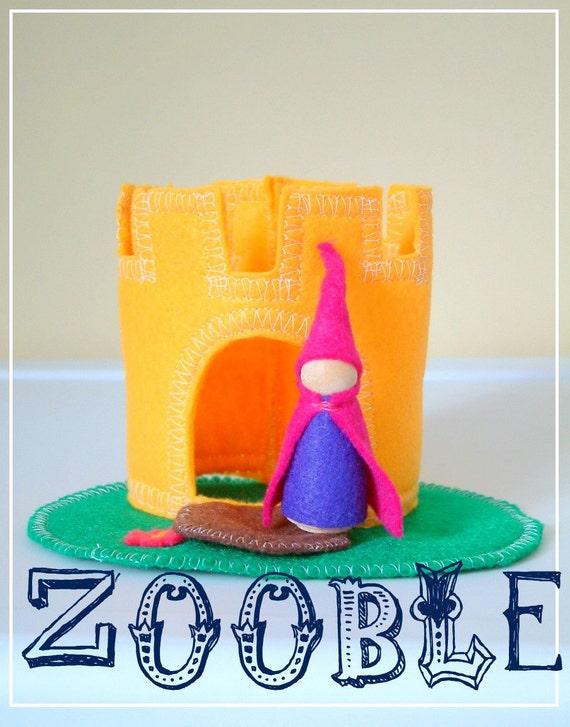 Princess And Her Castle - Wooden Felt Play Set - Stocking Stuffer - Chritstmas Gift-Hanukkah - Stocking Stuffer
