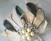 Vintage Style Bridal Fascinator, Ivory Fascinator,Champagne, Green, Pearl, Rhinestone - DIANA