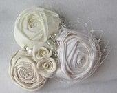 Ivory Rose Hair Clip, Ivory Fascinator, Bridal Flower, Roses, Pearls and Rhinestones, Wedding Hair Flower - EMMA