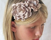 Flower Girl Headband, Ribbon Headband with Flowers, Custom Headband, Bridesmaid Headband