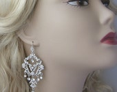 Rhinestone Chandelier Earrings, Crystal Bridal Earrings, Swarovski Crystal Earrings, Vintage Style - ADRIANA