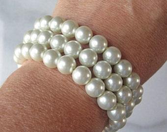Swarovski Pearl Bracelet, Triple Strand Pearl Bracelet, Pearl Bridal Bracelet, Multi-Strand Bracelet