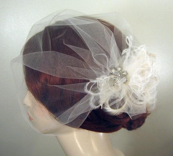 Birdcage Veil, Bridal Fascinator, Blusher Veil with Rhinestone and Feather Fascinator, Detachable, White, Ivory, Champagne - SAVANNAH