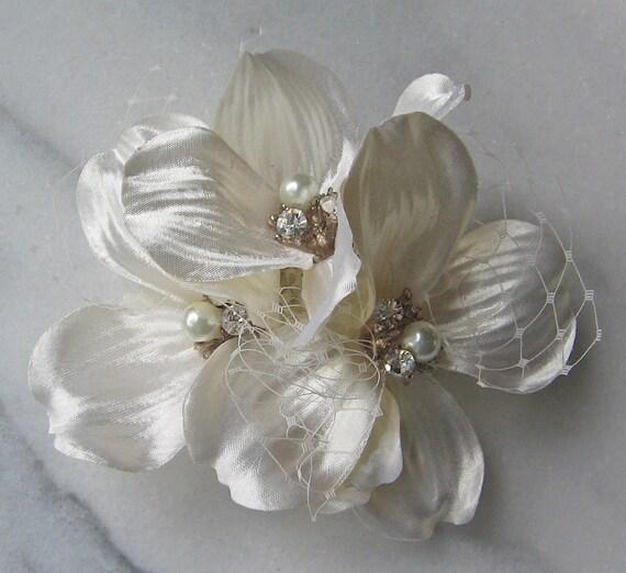Ivory Flower Hair Clip Wedding: Ivory Hair Flower Ivory Flower Clip Bridal Clip Bridal