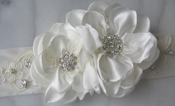 Ivory Bridal Sash, Wedding Sash, Bridal Belt, Flower Sash, Rhinestone and Lace Bridal Sash - MAGNOLIA
