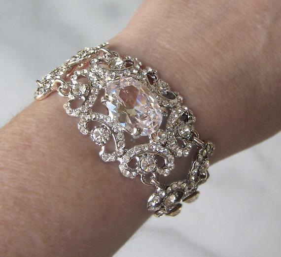 Swarovski Rhinestone Bracelet, Bridal Cuff, Crystal Wedding Bracelet - PALAIS GARNIER