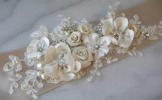 Champagne Bridal Sash, Ivory Wedding Belt, Rhinestone and Pearl Flower Sash with Lace - CHERI