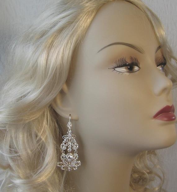Crystal Chandelier Earrings, Rhinestone Bridal Earrings,  Swarovski Crystal Wedding Earrings - RANI