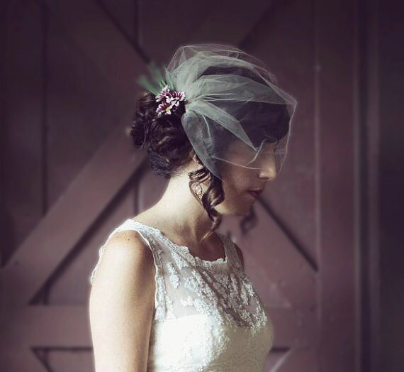 Wedding Veil Birdcage Veil Tulle Blusher White Ivory Champagne
