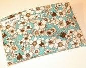 Turquoise Brown Floral Eco Friendly Reusable Handmade Snack Bag
