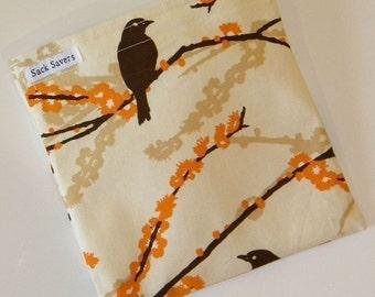 Reusable Handmade Sandwich Bag Almond Aviary II Eco Friendly