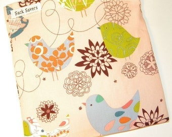 Reusable Sandwich Bag Pink Starling Eco Friendly Birds