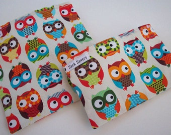 Reusable Sandwich and Snack Bag Set Eco Friendly Alice Kennedy Bright Owls