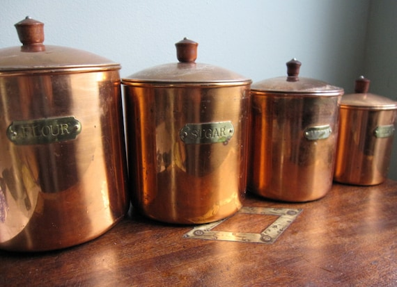 copper canister set kitchen set of 4 copper kitchen canisters revere ware 16850