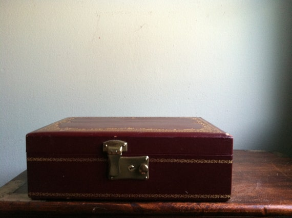 Vintage Burgundy and Gold Jewelry Box