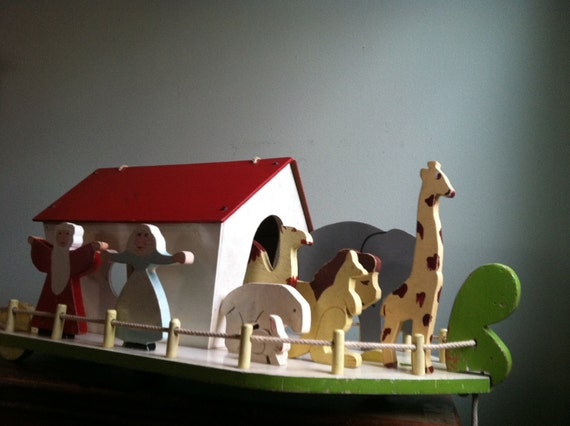 Vintage Wooden Noah's Ark with Family and Animals - Pull Toy - 16 Pieces - All Proceeds go to Charity