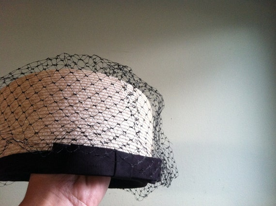 Vintage Cream Hat with Black Accents and Veil