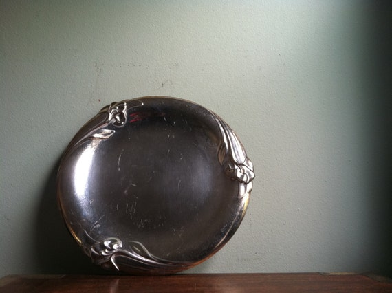 Silver Dish with Floral Lily Border