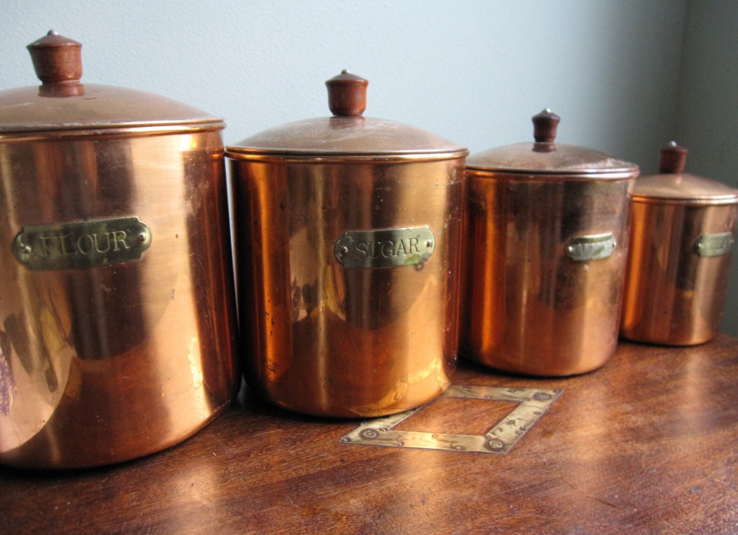 canisters for kitchen set of 4 copper kitchen canisters revere ware by apkvintage