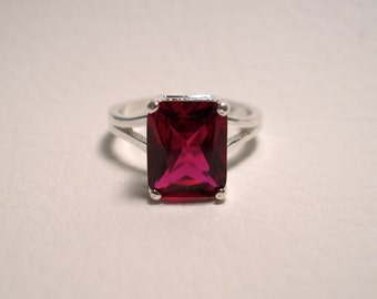 Red Ruby Ring in Sterling Silver - Lab Grown Ruby