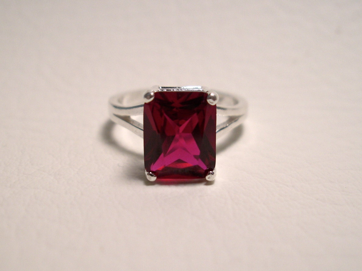 red ruby ring in sterling silver lab grown ruby