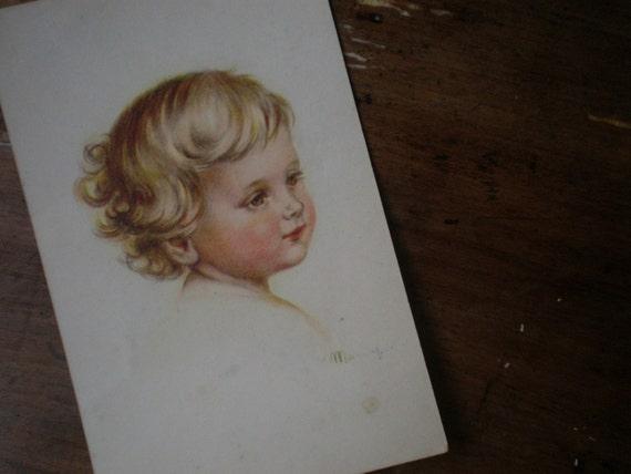 Reserved for Michele VINTAGE POSTCARD Antique Print 40s Baby Belgium Postcard Paper Ephemera