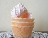 pastel peach custard cups, trinket jewelry holder, vintage - set of 3