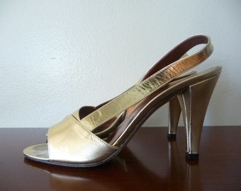 metallic gold shoes slingback high heels, 6.5