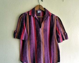 striped boho top shirt, small medium